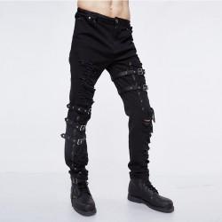 Pantaloni con strappi , fibbie e lacci